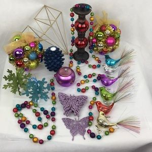 25 PC Jewel Tone Candle Holders & Ornaments